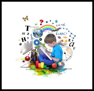 A young boy is reading a book with school icons such as math formulas, animals and nature objects around him for an education concept on white.